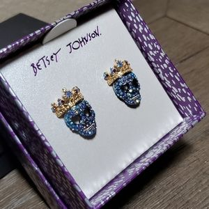 Betsey Johnson Blue Crystal Skull w/Crown Earrings